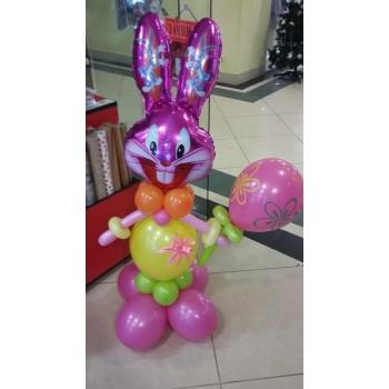 Фігура з кульок Заєць рожевий