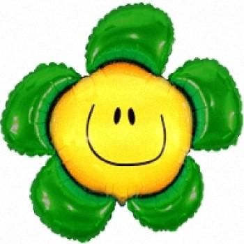 Фольгована кулька смайл квітка зелена