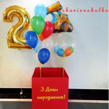 Коробка червона з кульками