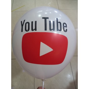 Латексна кулька Youtube біла