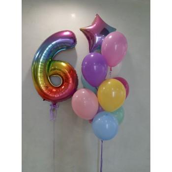 Набір кульок з цифрою омбре кольоровий