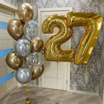 Набір кульок на 27 років в золотих тонах