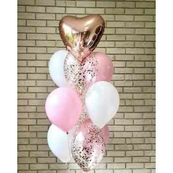 Фонтан кульок для дівчини в рожево-білих тонах