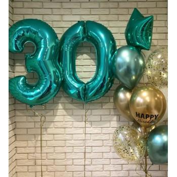 Набір кульок на 30 років в бірюзових тонах