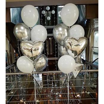 Фонтани кульок в біло-срібних тонах