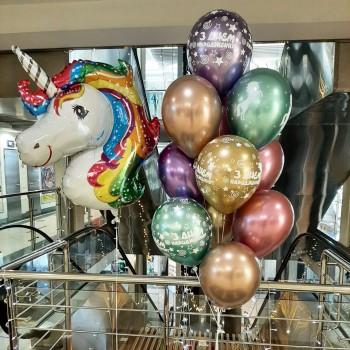 Набір кульок Єдиноріг і кульки хром з Днем народження