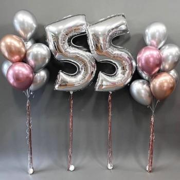 Набір кульок на 55 років в срібно-рожевих кольорах