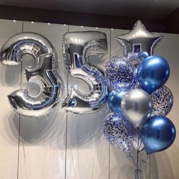 Набір кульок на 35 років синьо-срібні