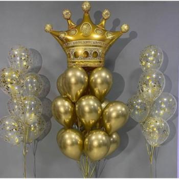 Набір кульок з короною в золоті