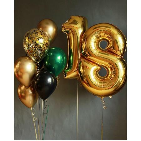 Набір кульок на 18 років золото