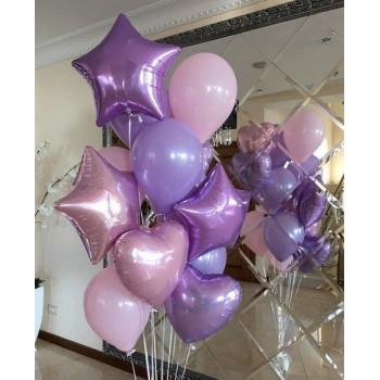 Набір кульок рожево-фіолетовий