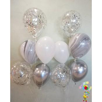Фонтани біло-срібних кульок