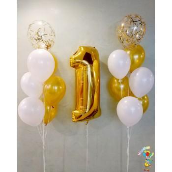 Набір кульок на 1 рік біло-золотий
