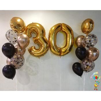 Набір кульок на 30 років золото