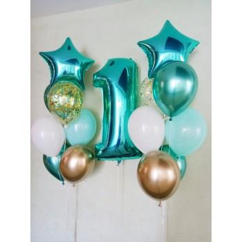 Набір кульок на 1 рік бірюза