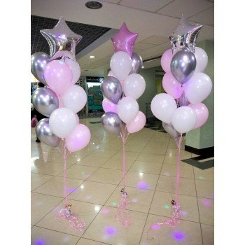 Набір кульок в рожево-срібних тонах