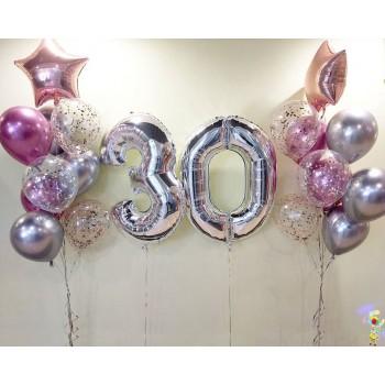 Набір кульок на 30 років в срібно рожевих кольорах
