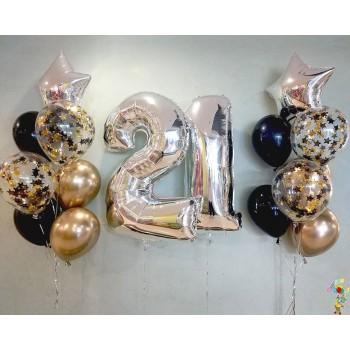 Набір кульок на 21 рік в чорно-золотих кольорах