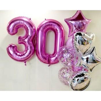 Набір кульок на 30 років в срібно рожевих тонах