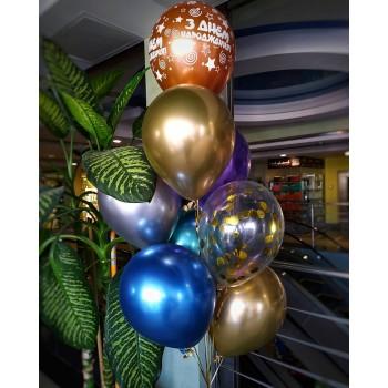 Фонтан хромованих кульок кольорових на день народження