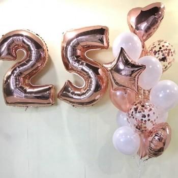 Набір кульок на 25 років рожеве золото+білий