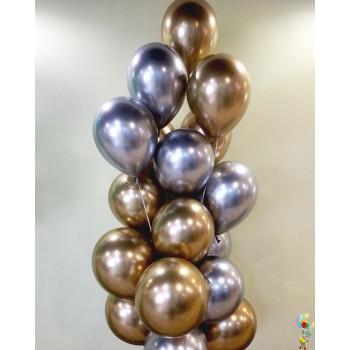 Фонтан хромованих кульок золото/срібло