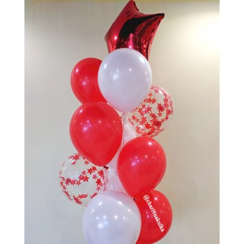 Фонтан кульок червоно-білі