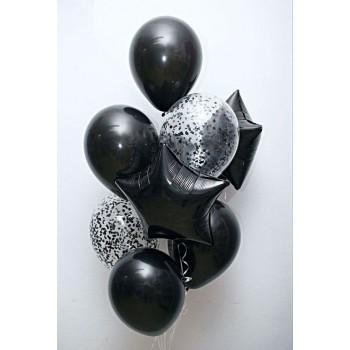 Набір чорних кульок з конфеті