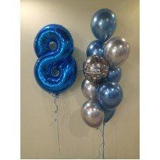 Набір кульок на 8 років хром сині