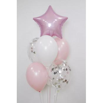 Фонтан біло-рожевих кульок