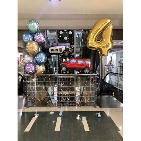Набір кульок на 4 роки з машинкою