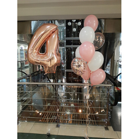 Набір кульок на 4 роки рожево - білий