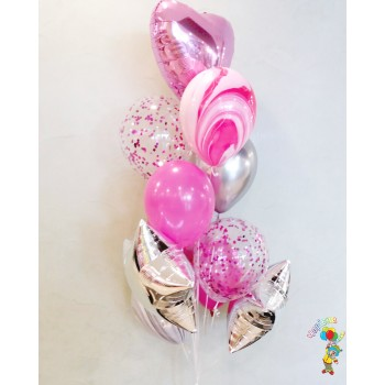 Фонтан кульок в рожевих тонах