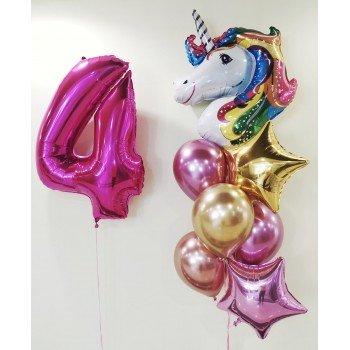 Набір кульок для дівчинки 4 роки Єдиноріг