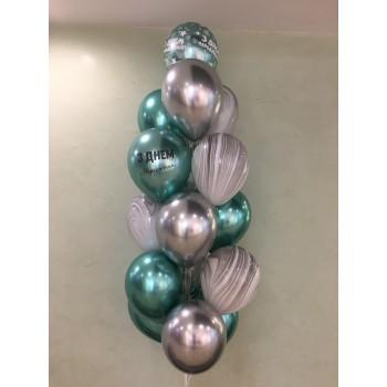 Фонтан хромованих кульок зелений/срібний