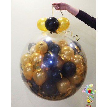 Куля-сюрприз на 50 кульок, чорний з золотом